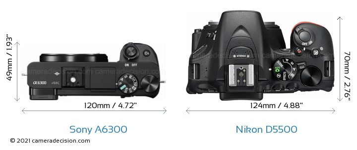 Sony A6300 vs Nikon D5500 Camera Size Comparison - Top View