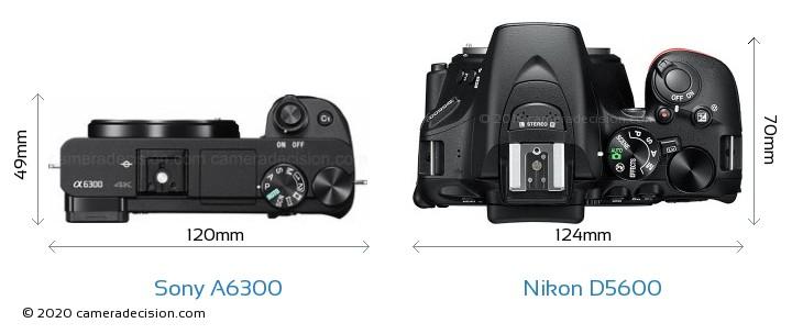 Sony A6300 vs Nikon D5600 Camera Size Comparison - Top View