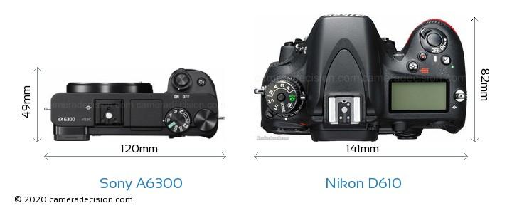 Sony A6300 vs Nikon D610 Camera Size Comparison - Top View