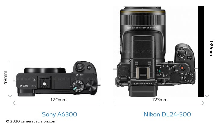 Sony A6300 vs Nikon DL24-500 Camera Size Comparison - Top View