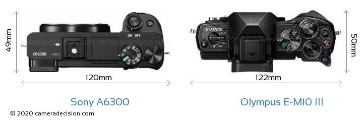 Sony A6300 vs Olympus E-M10 MIII Camera Size Comparison - Top View