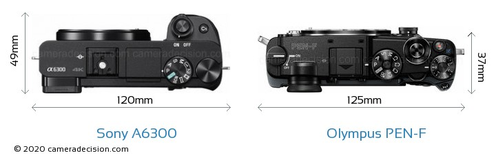 Sony A6300 vs Olympus PEN-F Camera Size Comparison - Top View