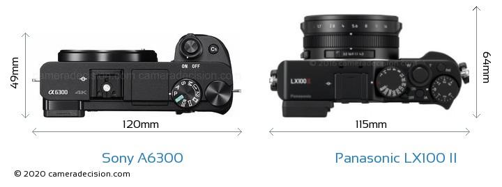 Sony A6300 vs Panasonic LX100 II Camera Size Comparison - Top View