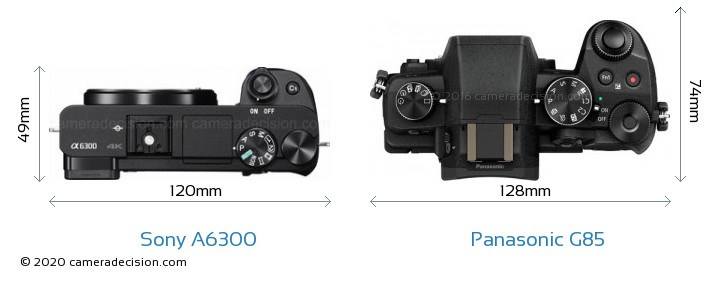 Sony A6300 vs Panasonic G85 Camera Size Comparison - Top View