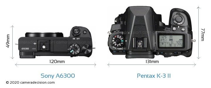 Sony A6300 vs Pentax K-3 II Camera Size Comparison - Top View