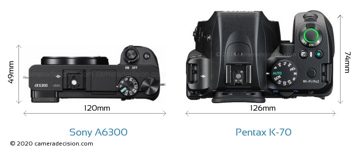 Sony A6300 vs Pentax K-70 Camera Size Comparison - Top View