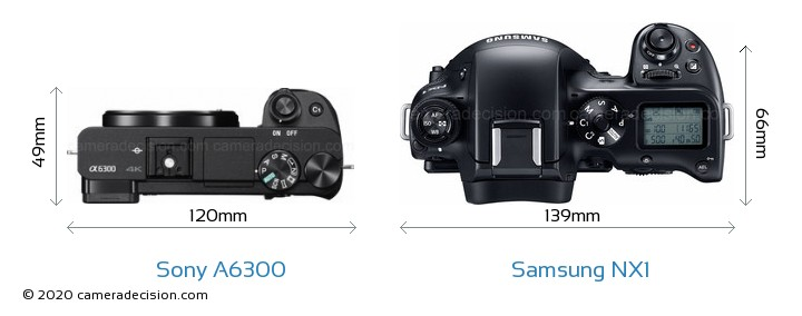 Sony A6300 vs Samsung NX1 Camera Size Comparison - Top View