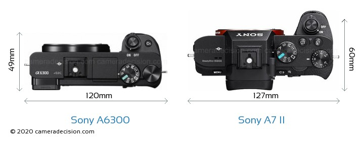 Sony A6300 vs Sony A7 II Camera Size Comparison - Top View