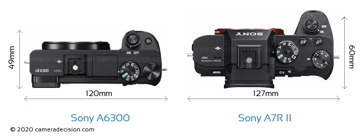 Sony A6300 vs Sony A7R II Camera Size Comparison - Top View