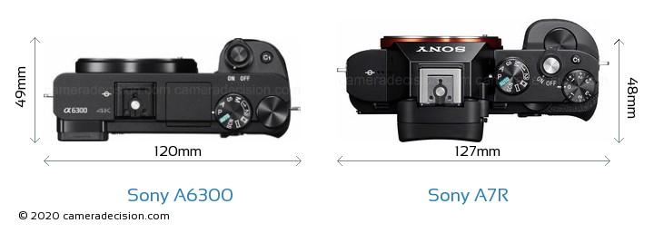 Sony A6300 vs Sony A7R Camera Size Comparison - Top View