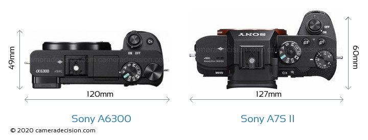 Sony A6300 vs Sony A7S II Camera Size Comparison - Top View
