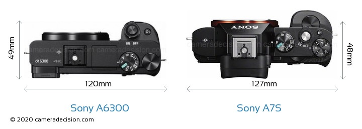 Sony A6300 vs Sony A7S Camera Size Comparison - Top View