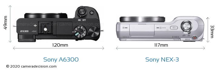 Sony A6300 vs Sony NEX-3 Camera Size Comparison - Top View