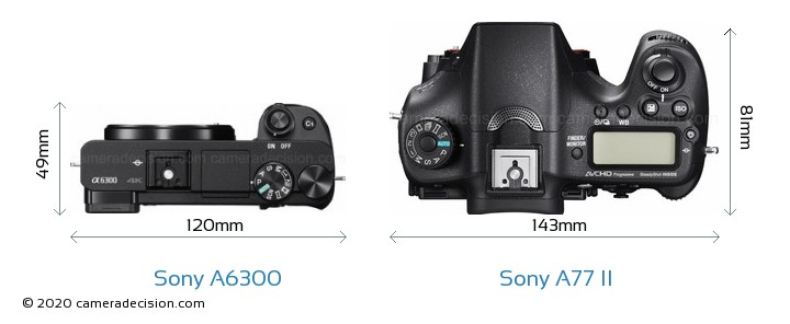 Sony A6300 vs Sony A77 II Camera Size Comparison - Top View