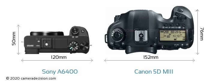 Sony A6400 vs Canon 5D MIII Camera Size Comparison - Top View