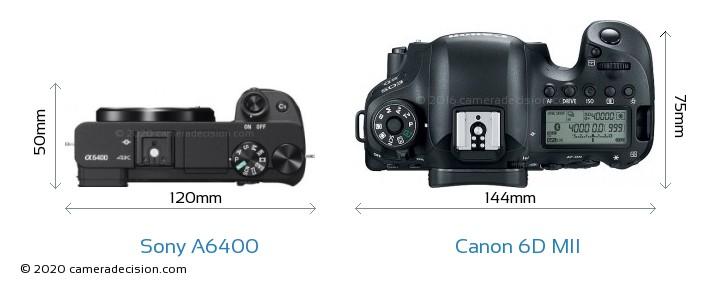 Sony A6400 vs Canon 6D MII Camera Size Comparison - Top View