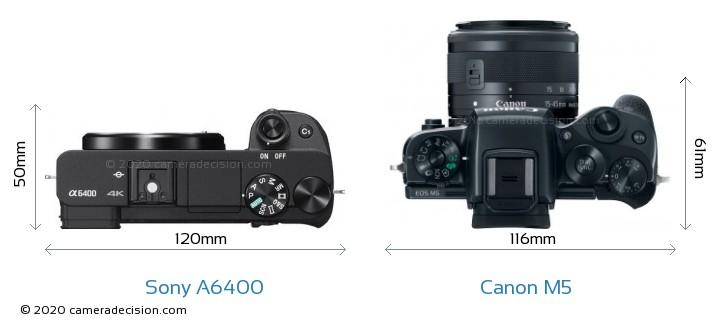 Sony A6400 vs Canon M5 Camera Size Comparison - Top View