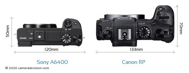 Sony A6400 vs Canon RP Camera Size Comparison - Top View
