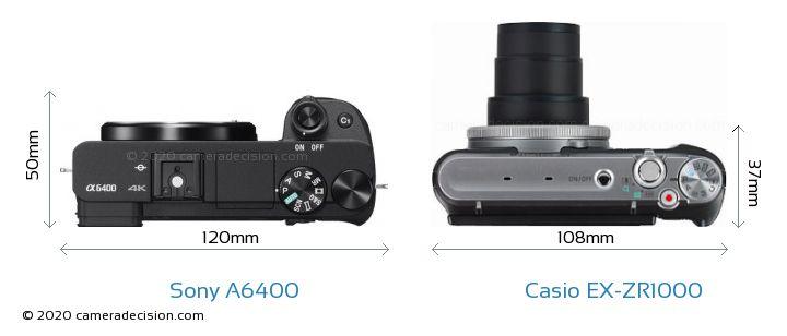 Sony A6400 vs Casio EX-ZR1000 Camera Size Comparison - Top View
