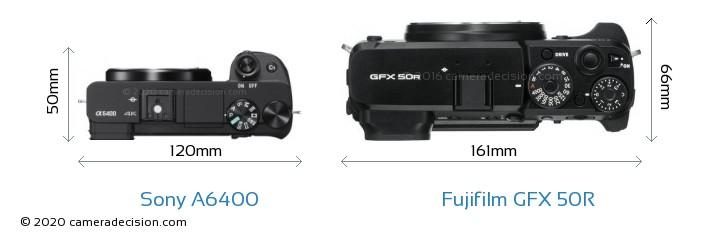 Sony A6400 vs Fujifilm GFX 50R Camera Size Comparison - Top View