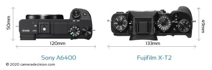 Sony A6400 vs Fujifilm X-T2 Camera Size Comparison - Top View