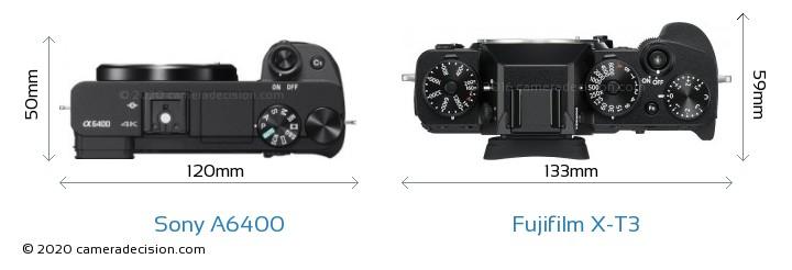 Sony A6400 vs Fujifilm X-T3 Camera Size Comparison - Top View