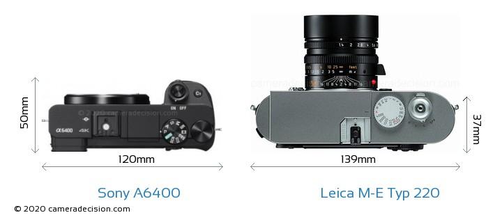 Sony A6400 vs Leica M-E Typ 220 Camera Size Comparison - Top View