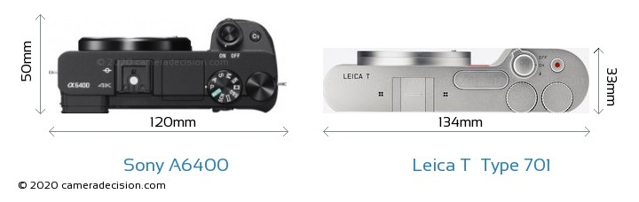 Sony A6400 vs Leica T  Type 701 Camera Size Comparison - Top View