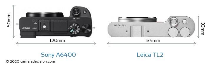 Sony A6400 vs Leica TL2 Camera Size Comparison - Top View