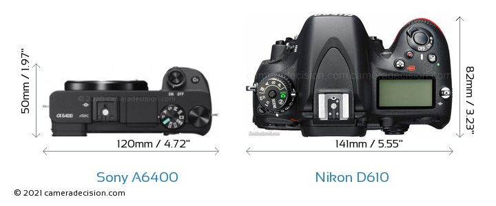 Sony A6400 vs Nikon D610 Camera Size Comparison - Top View