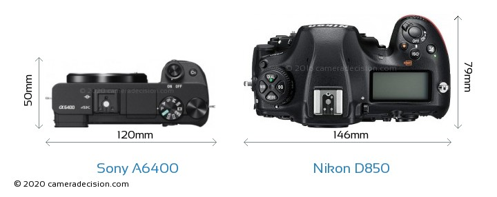 Sony A6400 vs Nikon D850 Camera Size Comparison - Top View