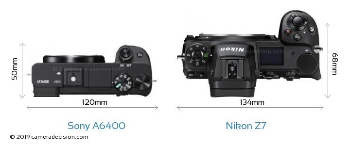 Sony A6400 vs Nikon Z7 Camera Size Comparison - Top View