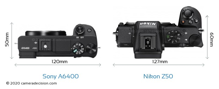 Sony A6400 vs Nikon Z50 Camera Size Comparison - Top View