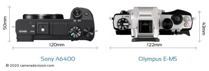 Sony A6400 vs Olympus E-M5 Camera Size Comparison - Top View
