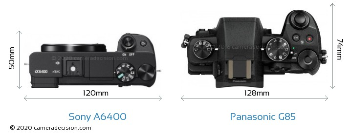 Sony A6400 vs Panasonic G85 Camera Size Comparison - Top View
