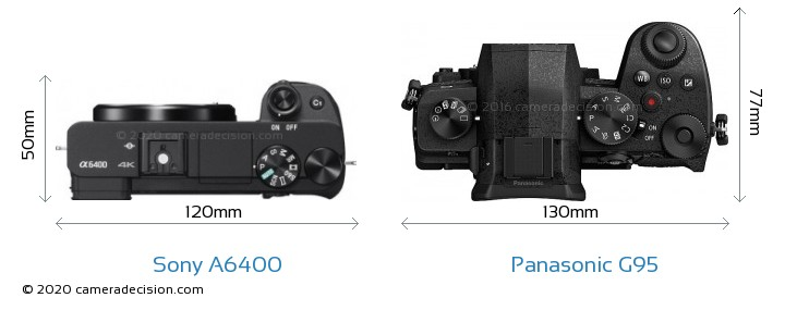 Sony A6400 vs Panasonic G95 Camera Size Comparison - Top View