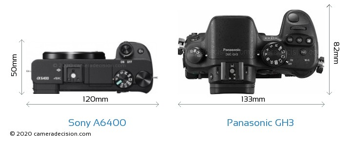 Sony A6400 vs Panasonic GH3 Camera Size Comparison - Top View