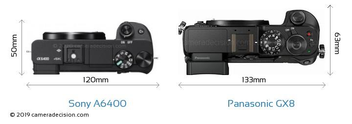 Sony A6400 vs Panasonic GX8 Camera Size Comparison - Top View