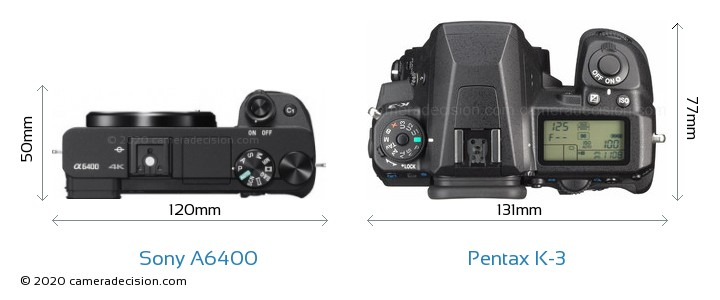 Sony A6400 vs Pentax K-3 Camera Size Comparison - Top View