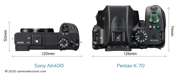 Sony A6400 vs Pentax K-70 Camera Size Comparison - Top View