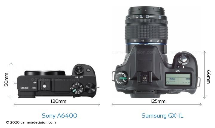 Sony A6400 vs Samsung GX-1L Camera Size Comparison - Top View
