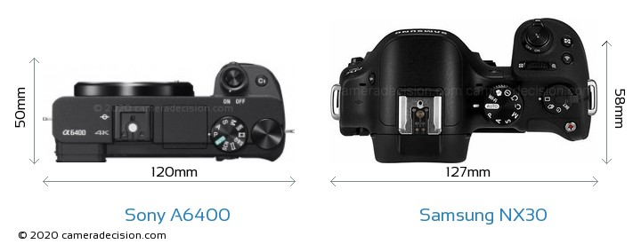 Sony A6400 vs Samsung NX30 Camera Size Comparison - Top View
