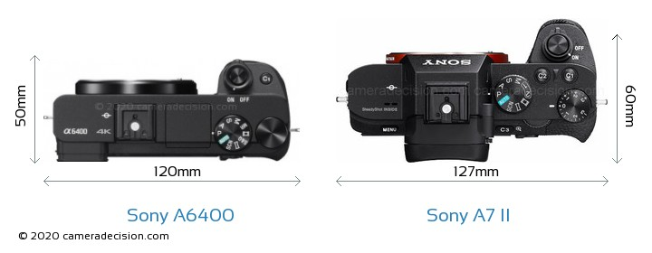Sony A6400 vs Sony A7 II Camera Size Comparison - Top View
