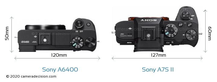 Sony A6400 vs Sony A7S II Camera Size Comparison - Top View