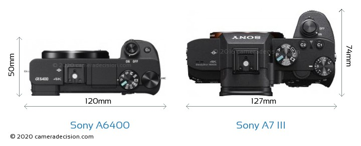 Sony A6400 vs Sony A7 III Camera Size Comparison - Top View