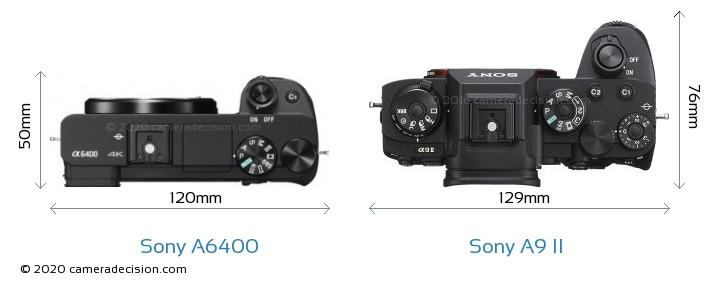 Sony A6400 vs Sony A9 II Camera Size Comparison - Top View