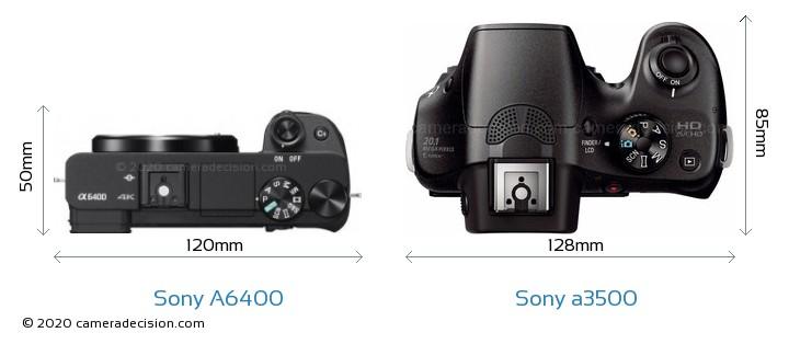 Sony A6400 vs Sony a3500 Camera Size Comparison - Top View
