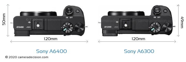 Sony A6400 vs Sony A6300 Camera Size Comparison - Top View