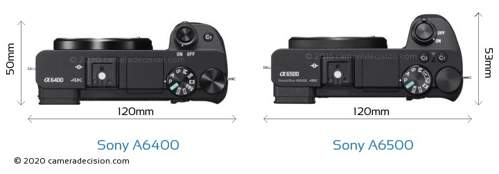 Sony A6400 vs Sony A6500 Camera Size Comparison - Top View