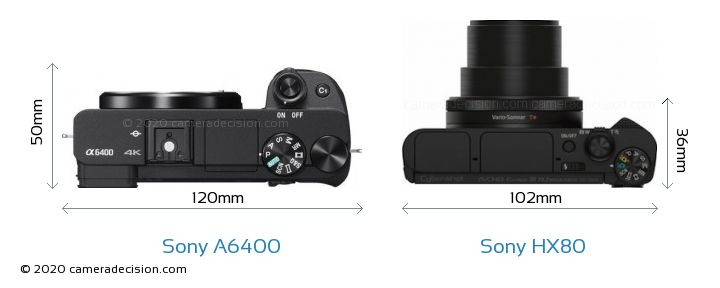 Sony A6400 vs Sony HX80 Camera Size Comparison - Top View